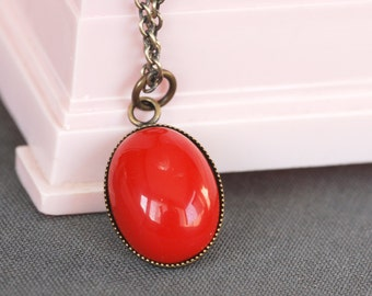 red opaque vintage glass and brass necklace