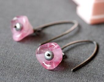 cherry bloom pink flowers sterling silver earrings