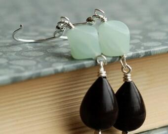 seafoam vintage lucite blue brown silver earrings