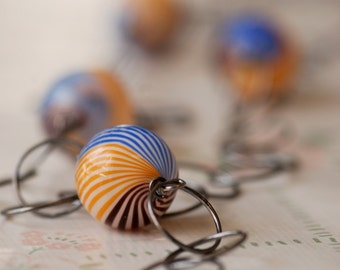 oceanview yellow blue brown blown glass and silver necklace