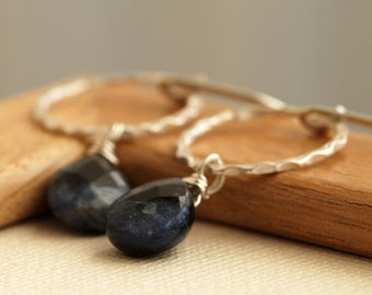 blue sodalite and silver earrings