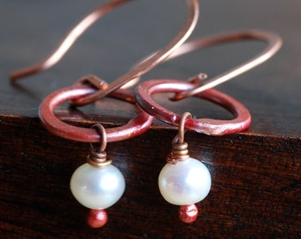 not your grannys pearls - white pearls and copper earrings