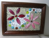 Pink and Burgandy Flower Mosaic