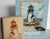 Brant Point Lighthouse- Wood Mount Rubber Stamp