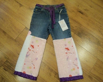 New Custom boutique Cutiepies Couture Girls chenille  princess jeans  5T  Super fun sale