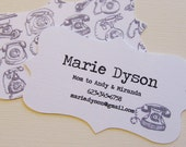 Modern Business Cards Vintage Telephones Ornate Cut Mommy Calling Cards 00092a