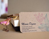 Recycled Business Cards Kraft Brown Pink Bird Floral Rounded Corners 00103a