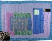 5.7.2012 small art quilt, contemporary, abstract, periwinkle, metallic gold, silk sari, lavender, black, aqua, blue