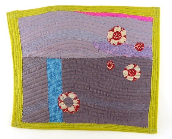 3.12.2012 small art quilt, contemporary, abstract, cotton, silk, linen. corduroy, dusty purple, grey, citron, neon pink, blue, red, ecru