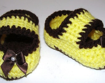 Crochet Pattern for Baby Infant Mary Jane Booties