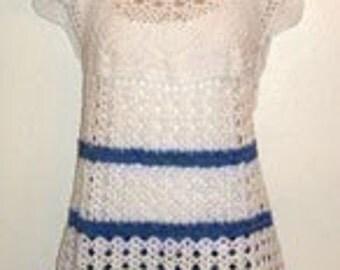 pdf crochet pattern for white shell tunic cotton top shirt
