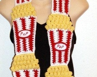 DIY Food Art Crochet Pattern 4 buttered popcorn Scarf