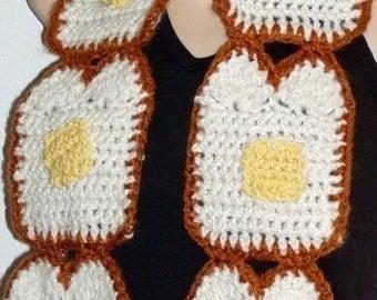 DIY Buttered Toast Bread Scarf  food art Crochet pattern Instructions