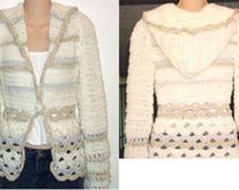 Crochet Pattern for Hooded Cardigan Sweater Jacket pdf