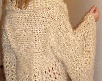 Crochet Pattern for Large Flare Sleeve Collar Shrug pdf