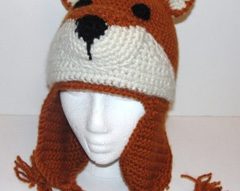 Crochet Pattern for Fox Hat with Earflaps Child and Adult Sizes