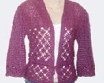 crochet pattern for Rose Cardigan Sweater Shrug PDF