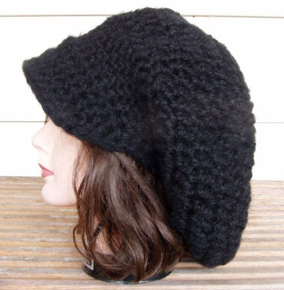 Crochet Slouchy Tam Rasta Beret Style Hat Black By Dianelangan