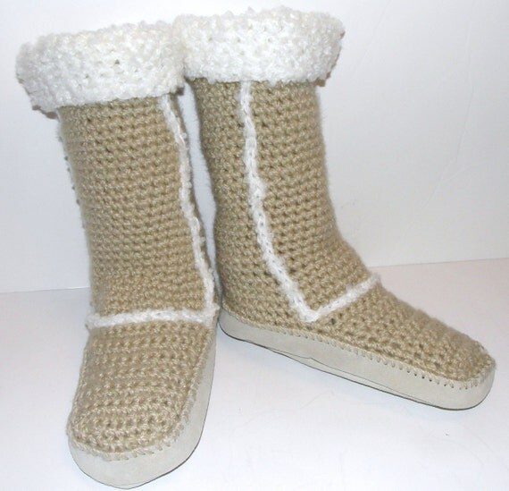 Crochet pdf Pattern for Ugg Style Slipper Boots w/ by ...