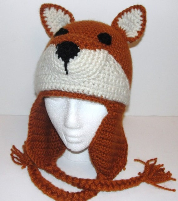 Crochet Fox Hat : Crochet Pattern for Fox Hat with Earflaps Child and by dianelangan