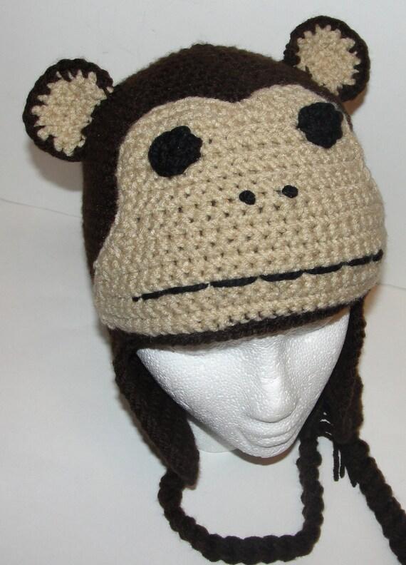 Monkey Beanie Hat Crochet Pattern : PDF Crochet Pattern for Monkey Critter Hat Adult Size