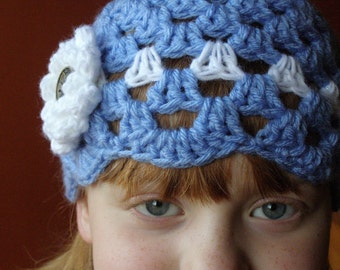 Lil' Lady Periwinkle Hat with flower