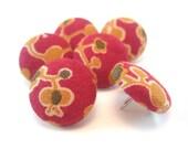 Orange Berries on Raspberry Large Fabric Thumbtacks - Qty. 6