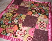 Pink and Brown Flowered Blanket