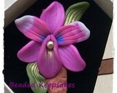 BARGAIN BOX SALE Pink and Purple Orchid Pendant or Necklace