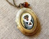 Mama Monkey Brass Locket Necklace
