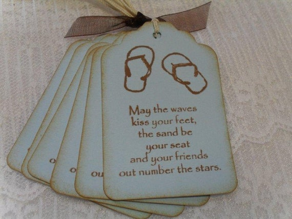 Wedding Gift Check Payable To : Beach Quote Tags Gift Tags Favor Tags Wedding Shower Sandals Stamped