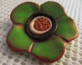 SALE Pretty Green Polymer CLay Flower Brooch