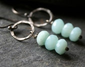 Pale blue Amazonite gem and Sterling Silver dangle earrings - SPECTER
