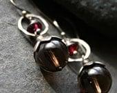 Smoky Quartz, Garnet and Sterling Silver dangle earrings - SENECA