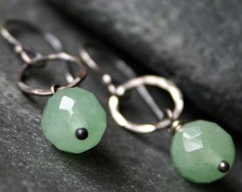 Mint green Aventurine gem stone, sterling silver dangle earrings - SOLILOQUY