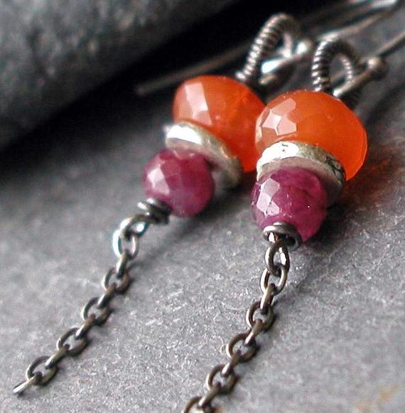 Orange Carnelian, Fuchsia Ruby, Oxidized Sterling Silver Wire Wrapped Dangle Earrings - DAYBREAK