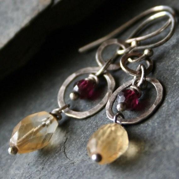 Golden Citrine, Red Garnet, Sterling Silver Dangle Earrings - CIMARON