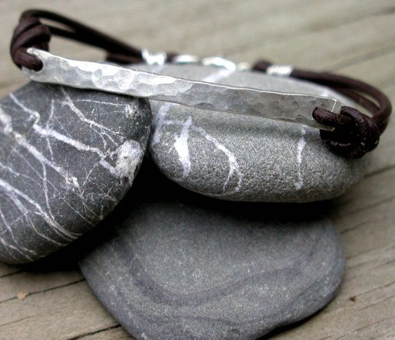 Hand Hewn Bracelet- Sterling Silver and Leather