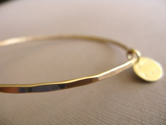 Gold Bangle Bracelet - Hammered and Personalized with Gold Circle Charm
