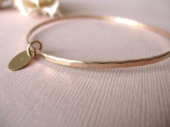 Gold Bangle Bracelet - Hammered and Personalized with Gold Oval Charm