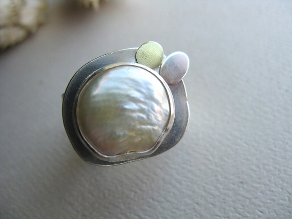 Spark from the Sea - Bezel Set Fresh Water Pearl Ring with 18 karat Gold Token