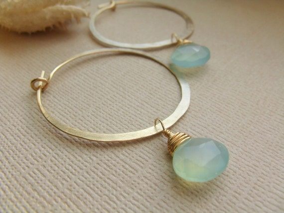 RESERVED FOR JOY - Gold Hoop Earrings with Faceted Aqua Chalcedony Briolettes - Size Small/Medium