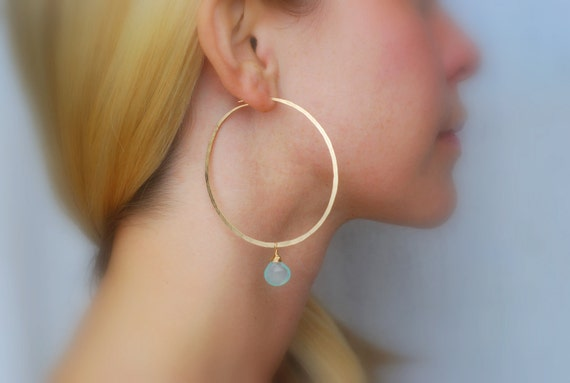 LIMITED EDITION - Gold Hoop Earrings with Faceted Aqua Chalcedony Briolettes - Size Large