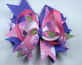 Boutique Pink Purple Princess and Frog  Hair Bow