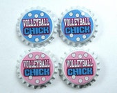 Set 4 Volleyball Chick  SEALED BOTTLE CAPS
