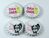 Set 4 Cute Chick Boys R Stinky sealed bottle caps