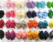 U choose 5  Large  5 inch Solid Colored Double layered Hair Bows Clips Hairbow