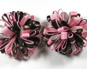 Boutique Set of 2 Pink -Brown Loopy Puff Hair Bows Hair Clip
