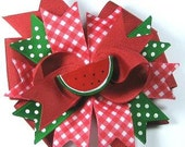 Boutique  Hair Bow Hair Clip Summer Picnic Watermelon Bow