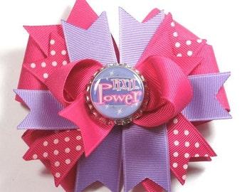 Boutique Pixie Power Purple and Pink  Bottle Cap Hair Bow Clip